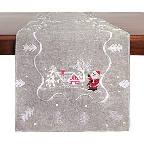 Galilery Christmas Holiday Embroidered Table Runner Rectangular,14 x 70,One Piece,Grey