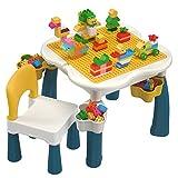 burgkidz Kids 5-in-1 Multi Activity Table Set - 130 Pieces Large Building Blocks Compatible Bricks Toy, Play Table Includes 1 Chair and Building Block Table with Storage (Macaron)