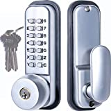MUTEX MX370 Mechanical Keyless and/or Keyed Entry Lock Set, 14 Digit Combination, Fits All Standard Doors, All-Weather Security for Doors, Gates, Airbnb, Garage, Warehouse, Storage Shed