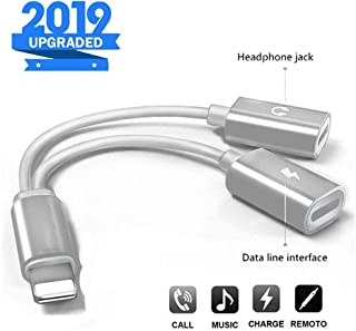 MoonshineStillPro Headphones Lightning Charger 2-in-1 Adapter Compatible with iPhone X/XR/XS/XSmax/8/7 Earphone Audio Connector Jack Splitter Cable Accessories Support iOS 12