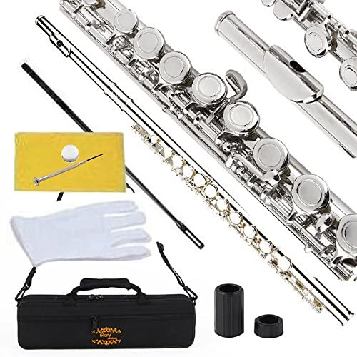 Glory Closed Hole C Flute With Case, Tuning Rod and Cloth,Joint Grease and Gloves Nickel Siver-More Colors available,...