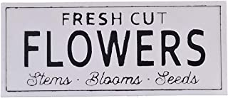 MaraehanJackgold Fresh Cut Flowers Vintage Decor Wall Spring Metal Sign, 6x12 Inches, White Signs Aluminum Plates Printed