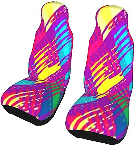 Kalynvi Juego de 2 fundas de asiento de coche con diseño abstracto brillante para asiento delantero, fundas de asiento impresas, universales para coche, SUV, camión, furgoneta