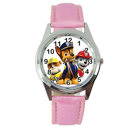 Taport Quarz-Armbanduhr mit Paw-Patrol-Motiv, rosa Lederarmband + Gratis-Ersatzbatterie + Geschenkverpackung
