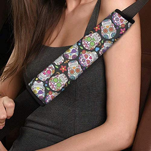 Micandle Daisy Flower Seat Belt Cover, Safety Belt Pad, Novelty Print Seatbelt Pads Shoulder Strap Cover Comfort Universal Car Accessories, Pack of 2