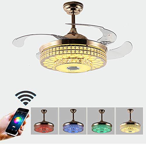 Ventilador de techo de cristal con luz y mando a distancia, lámpara LED de techo con altavoz Bluetooth, regulable, lámpara de araña moderna, hojas retráctiles, moderna luz Bluetooth, RGB