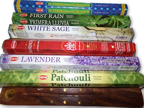 HEM Six Most Popular Incense Scents of All Time, 120 Sticks Total, with Free Burner - 20 Sticks Each of, Frankincense & Myrrh, Patchouli, Lavender, First Rain, Frankincense and White Sage