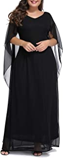 Womens Plus Size V Neck Formal Party Maxi Dress with Long Chiffon Cape