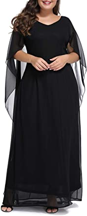 c9035ce5fbe Innerger Womens Plus Size Chiffon Cape Sleeve Evening Party Long Maxi Dress