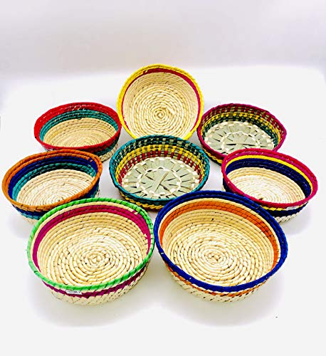 Tortilleros De Palma | Handcrafted Tortilla Baskets | Artesania Mexicana | Authentic Vibrant Colors | Mexican Theme Parties and Events | Centerpieces Ideas | Mexican Candy Bar Holder | (12)