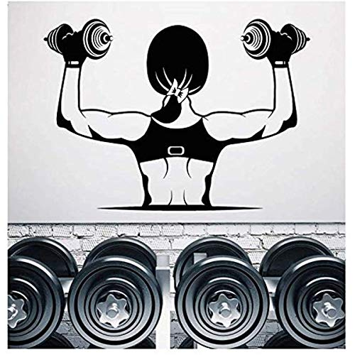 Vinyle Applique Murale Muscle Fille Corps Haltère Musculation Fitness Club De Fitness Gym Décoration Stickers Muraux