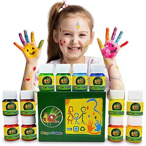 Magicdo Finger Paint Kit for Kids NonToxic Washable Art Paint Supplies for Toddlers DIY Crafts Painting School Painting Supplies Gifts for Kids12color