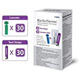 KetoSens Blood Ketone Test Strips and Lancets - Ideal for The Keto Diet and Ketosis Monitoring - Includes 30 Test Strips & 30 Lancets