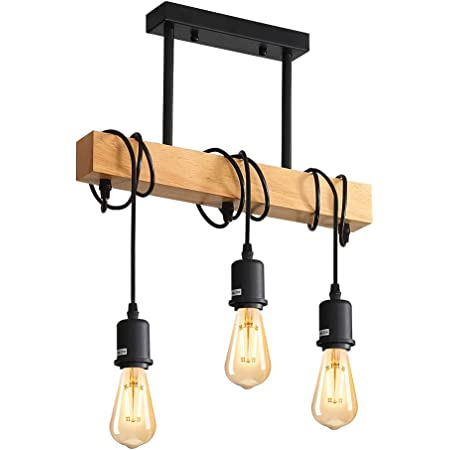 Comely Suspension Luminaire Vintage, Plafonnier Industriel, Réglable Lustre en Bois pour Salle à Manger, Salon, 3 Lumières E27 (Ampoule Non Incluse)