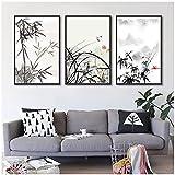 Arte de pared, pintura de tinta china de bambú y orquídea, pintura hermosa con vista a la montaña, cuadro en lienzo, decoración de arte de pared para el hogar, sin marco