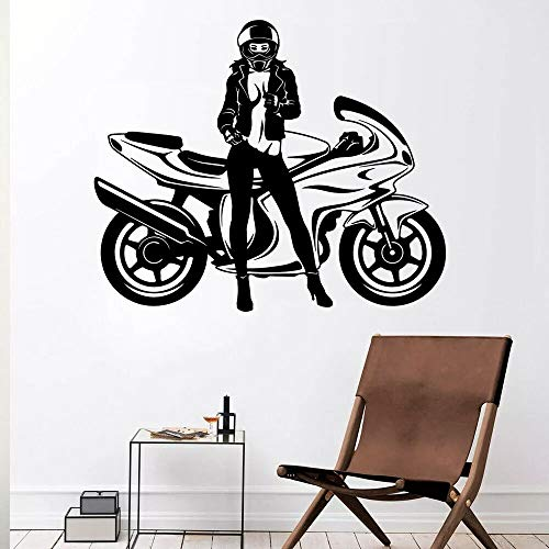 Cool Motorcycle Wall Stickers Cloak Sexy Female Wall Stickers Home Decoration Accessories Office Windows