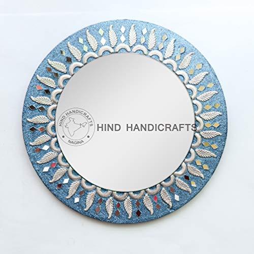 Hind Handicrafts Espejo de pared redondo de madera turquesa de 30,48 cm – Espejo redondo mediano, espejo rústico para baño, entrada, comedor, sala de estar