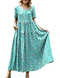 YESNO Women Casual Loose Bohemian Floral Dress with Pockets Short Sleeve Long Maxi Summer Beach Swing Dress (L EJF CR85)