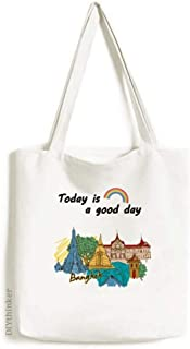 Thailand Bangkok Watercolor Tote Canvas Bag Craft Washable Fashion Shopping Handbag