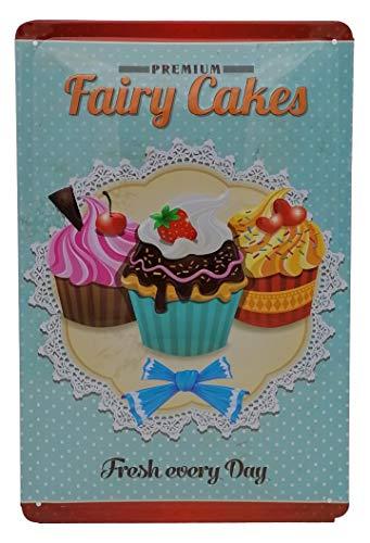 Tabliczka kuchenna Premium Cupcake Trio, wytłaczana tabliczka blaszana 30 x 20 cm, Bakery Shop Best in Town - ciasto, ciastka, czekolada i kremowy z wiśnią dekoracją ścienną
