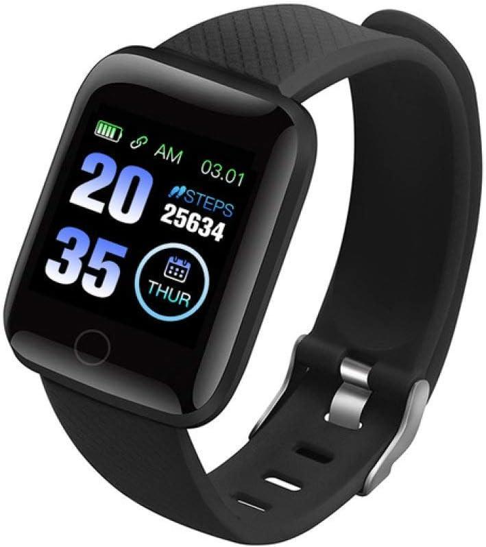Inteligente Reloj Inteligente Relojes Plus Ritmo Cardíaco Reloj Inteligente Pulsera de Deportes Relojes Inteligentes Banda Impermeable Azul Smartwatch,Negro