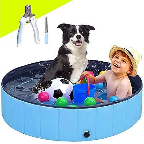 Piscina per cani, pieghevole, in PVC, antiscivolo, per nuoto, doccia, vasca, vasca, laghetto per interni ed esterni, per animali domestici e bambini