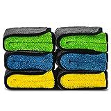 洗車 タオル マイクロファイバー 吸水 厚手 両面タイプ 珊瑚の絨 超吸水 速乾 傷防止 洗車 車内 ふき取り 家事用 掃除 兼用する 6枚入 30cm* 30cm