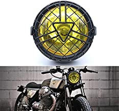 Motorcycle Headlight With Arrow Grill Cover Headlamp for Cruiser Bobber Cafe Racer Custom Bike 12V 6 Inch(Yellow Lens)