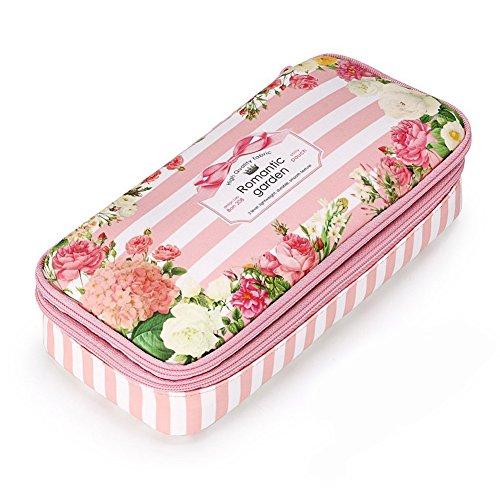 Retro-Blumenmuster Federmäppchen, Romantische Blumengarten Doppelschichten Federmäppchen, wasserdicht, Make-up-Beutel, Reißverschluss-Tasche, Schüler-Briefpapier (Floral-pink)