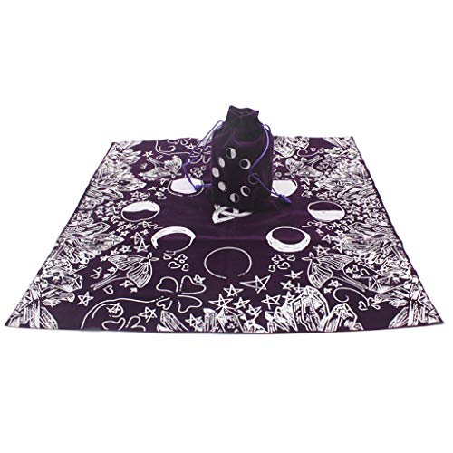 zkm Velvet Tarot Tablecloth with Bag Witch Divination Moon Phases Lover Altar Cloth