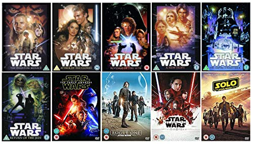STAR WARS 1-10 Complete Collection The Phantom Menace/Attack Of The Clones/Revenge Of The Sith/A New Hope/The Empire Strikes Back/Return Of The Jedi/The Force Awakens/Rogue One/The Last Jedi/Solo