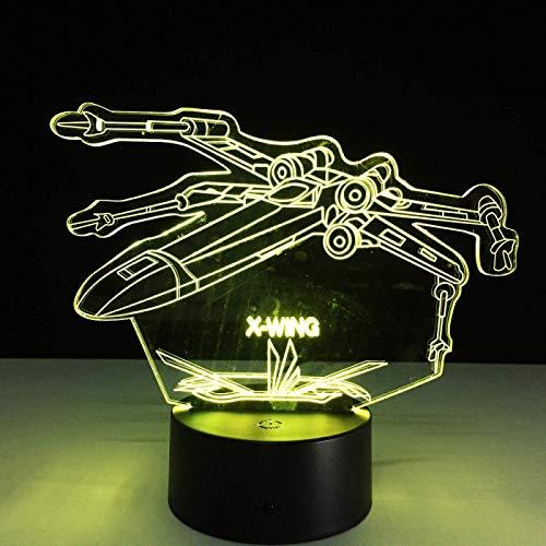 3D Illusion Lamp,Led Night Light 3D Nachtlicht für Kinder, Jungen und Mädchen LED Space Warship Optische Täuschampe, Weihnachten Geburtstagsfeier Geschenk für Kinder, 16 Farbwechsel Fernbedienung Schl