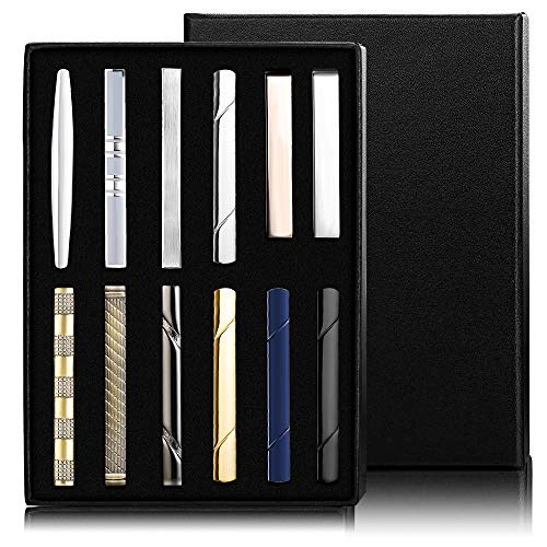 Jstyle 12 Pcs Tie Clips Set for Men Tie Bar Gift for Men Clip Set for Regular Ties Necktie Wedding Business Clips with Luxury Package