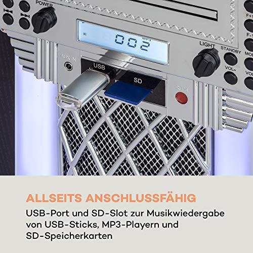 auna Kentucky Home Audio Jukebox - Bluetooth, UKW-Radiotuner, USB-Port und SD-Slot, MP3-Wiedergabe, CD-Player, SRC LED Lighting System, AUX-In, Designgehäuse mit Eichenholz-Optik, kompakt, schwarz