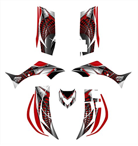 Yamaha Wolverine 450 2006-2008 Graphics Decal Kit by Allmotorgraphics NO7777 red -  wolverine-06-08-7777r