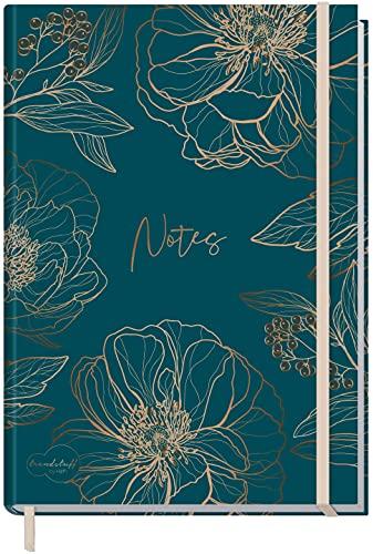 Notizbuch A5+ blanko mit Gummiband [Goldblüte] von Trendstuff by Häfft | 156 Seiten, 78 Blatt | als Bullet Journal, Skizzenheft/Skizzenbuch, Tagebuch, Notizheft | nachhaltig & klimaneutral