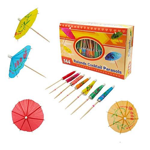 Paraguas de Cóctel 144 Pack, Decoración de Cóctel de Papel Bebidas de Sombrillas para Cóctel Bebidas Tropicales Etiqueta de Frutas Etiqueta de Vino Colores Variados 10 cm