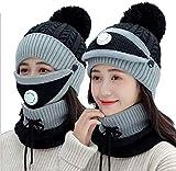 GRXIN Bonnet d'hiver pour Femmes 3 en 1, Chapeaux pour Femmes, Équipés pour Faire du Vélo Et Ramasser des Enfants,E