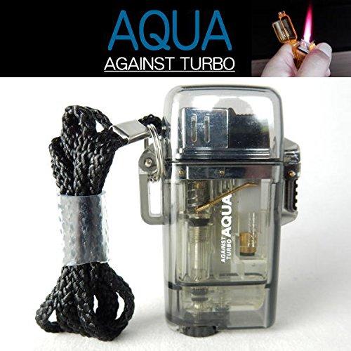 ツインライト AQUA TURBO LIGHTER ターボライター AGAINST TURBO 風・水に強い (ブラック)