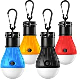 Camping Lights, Tent Lights with Carabiner Clips - Waterproof Portable Battery Operated Emergency Tent LED Light Bulb Lamp Lantern for Outside Camping Outdoor Hiking Fishing (4 Pack)