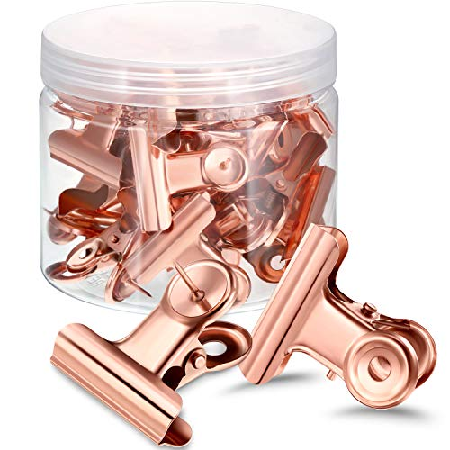 30 Pieces Push Pins Clips, Bulldog Clips with Thumb Tacks for School Artworks Projects on Cork Board, Photos Documents on Bulletin Board, No Holes for The Paper on Cubicle Walls (Rose Gold)