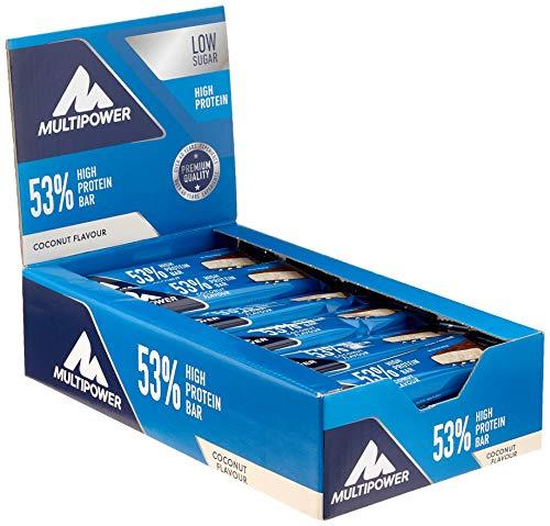 Multipower 53% Protein Bar – 24 x 50 g Riegel Box – Kokos – 27 g Eiweiß pro Riegel