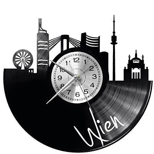Wien Wanduhr Vinyl Schallplatte Retro-Uhr groß Uhren Style Raum Home Dekorationen Tolles Geschenk Uhr