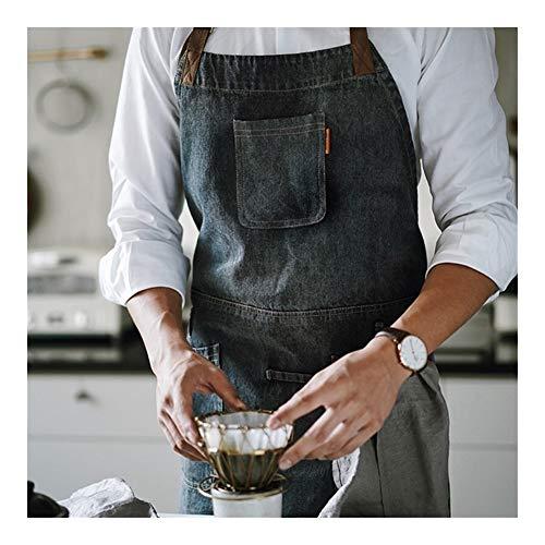 Apron ZYJ Black Denim Latzschürze Barista Cafe Barkeeper Baker Pastry Chef Uniform Restaurant Bistro Hotels Coffeebar Das Bedienungspersonal Arbeitskleidung 8.13
