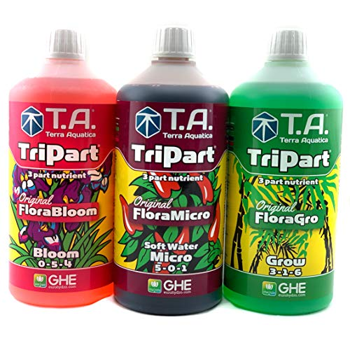 GHE TRI-Part Flora Series Pack Dünger Grow Micro SW Bloom Set Senua General Soft-Water Europe Hydroponics TA T.A. Flora-Gro (Weiches Wasser)