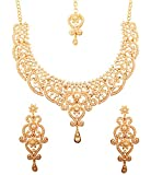 NEW! Touchstone Indian Bollywood Fine Filigree White Faux Pearls Grand Bridal Jewelry Necklace Set In Antique Gold Tone For Women.