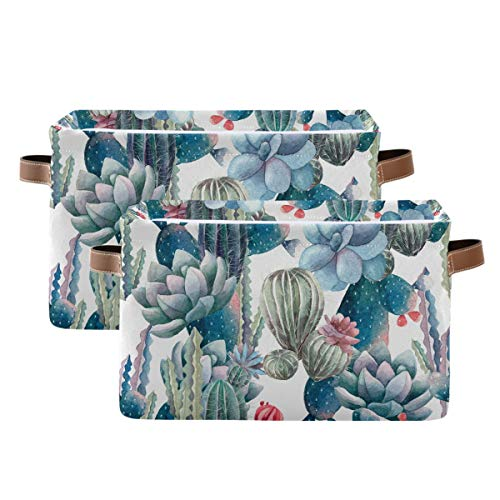 Evlife Storage Basket Cube Watercolor Tropical Cactus Catis Large Collapsible Toys Storage Box Bin Laundry Organizer for Closet Shelf Nursery Kids Bedroom,15x11x9.5 in,2 Pack
