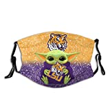 Tigers College Football Gear Face Cover Fashion Mask 2 Filters Adjustable Windproof Dust Mask Washable Reusable Manda_Lorian Cloth Masks for Women Men Outdoor Warm Neck Gaiter Facial Decorations