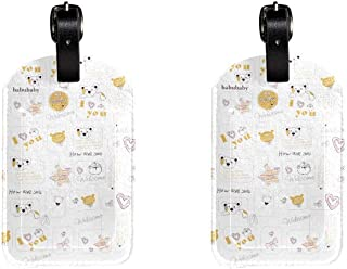 Cute BearsLeather Luggage Tags Suitcase Labels Bag Travel ID Bag Tag, 1 Pcs