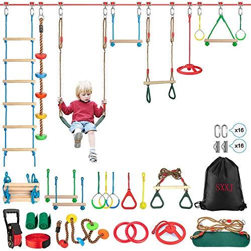 Curso de obstáculos de Ninja Guerrero para niños a prueba de intemperie 54 'Ninja Slackline con 14 accesorios de obstáculos Incluye escalera de swing Spinning Wheel-Diversión y segura al aire libre N
